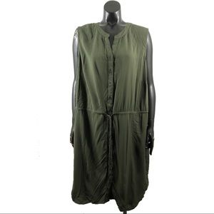 Faded Glory Plus Size 2X Olive Green Shirt Dress